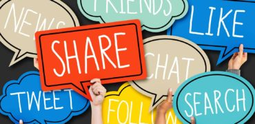 Hands Holding Colorful Speech Bubbles Social Media Concept